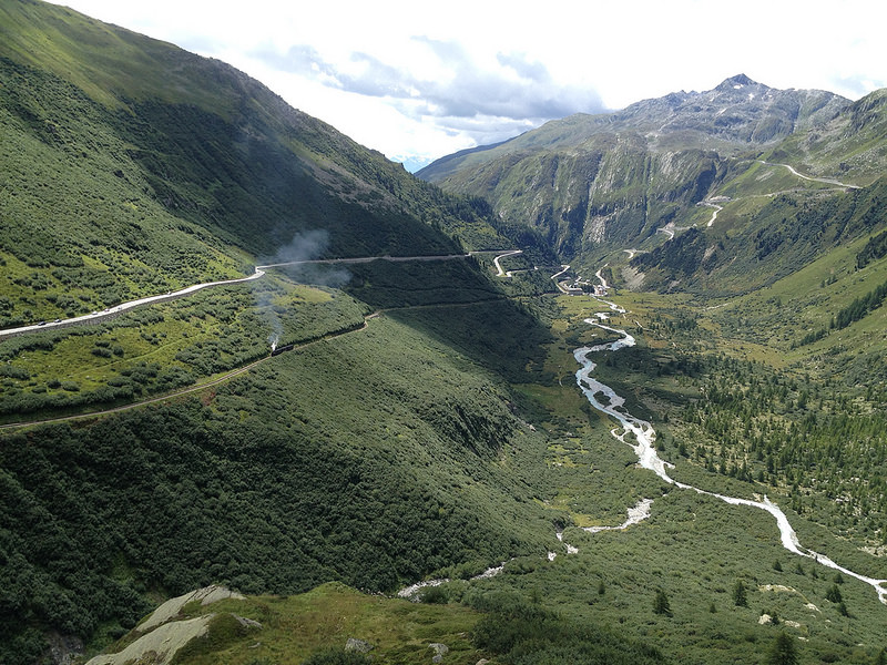 Furkapass y el glaciar de Rodano
