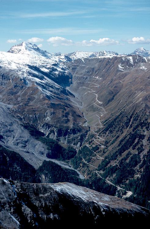 Vista aerea del Paso Stelvio