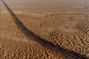 Vista aérea de la carretera del Tarim