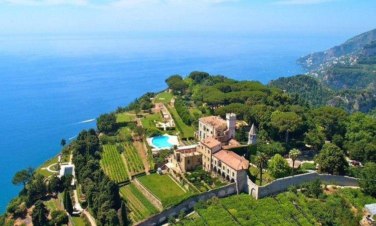 Vista aérea de Villa Cimbrone, en Ravello